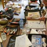 Les outils des peintres (photo Guy Mouilhayrat)